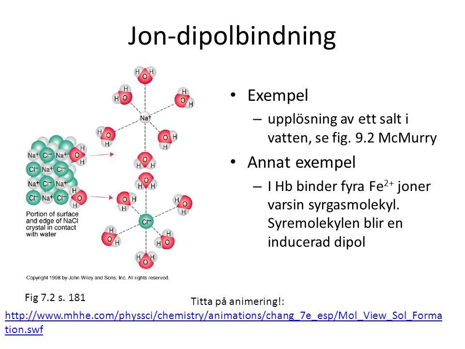 Jon-dipolbindning • Exempel – upplösning av ett salt i vatten, se fig. 9.2 McMurry • Annat exempel – I Hb binder fyra Fe 2+ joner varsin syrgasmolekyl