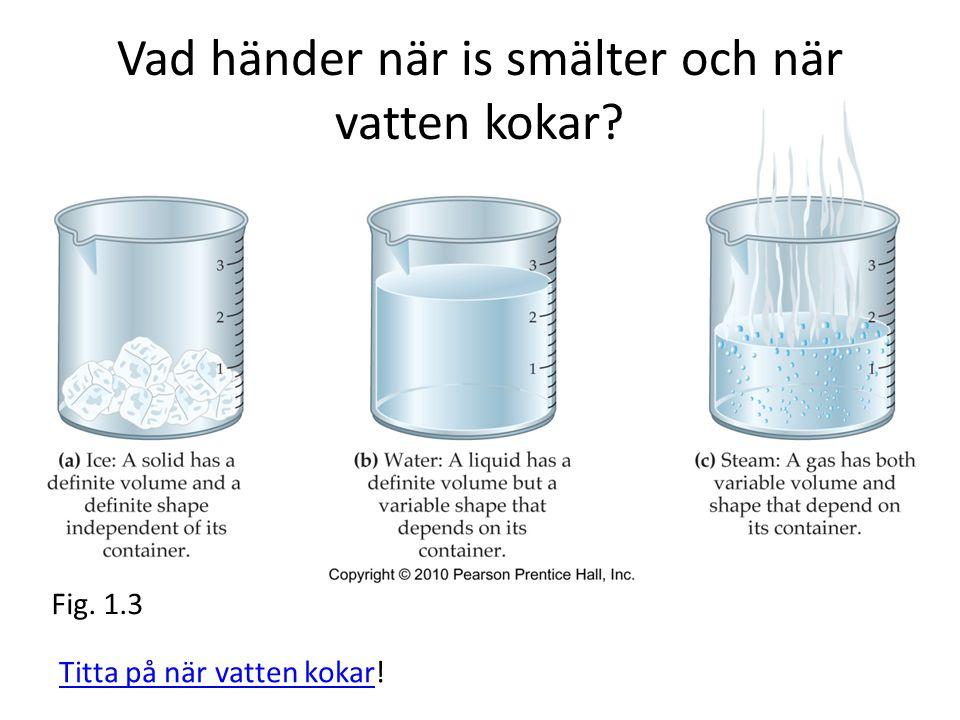 Vad händer när is smälter och när vatten kokar? Fig. 1.3 Titta på när vatten kokar!