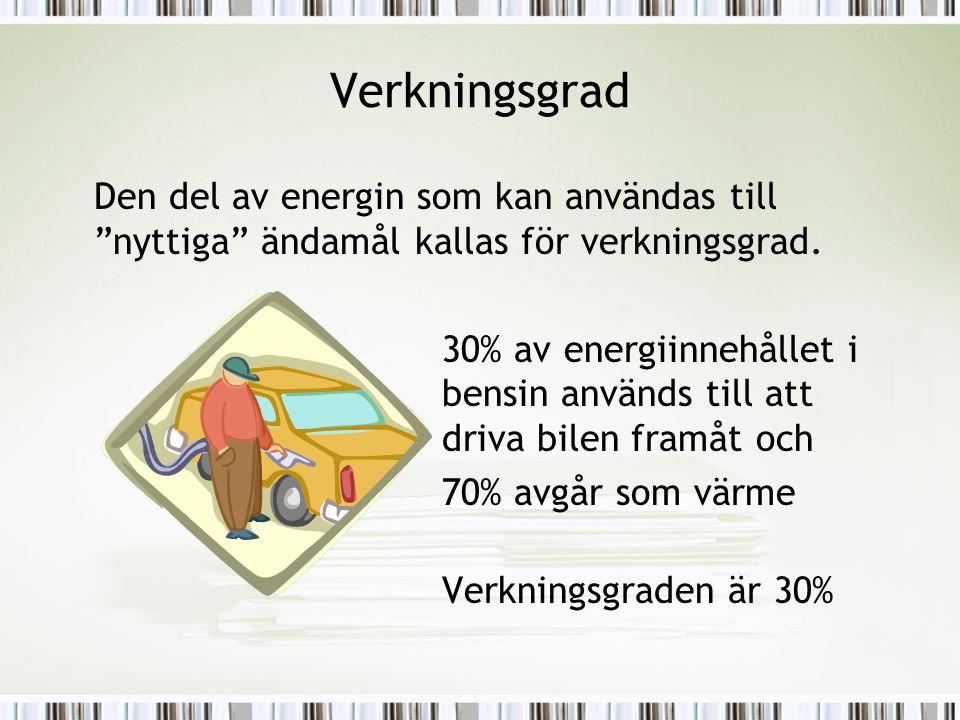 """Verkningsgrad Den del av energin som kan användas till """"nyttiga"""" ändamål kallas för verkningsgrad. 30% av energiinnehållet i bensin används till att d"""