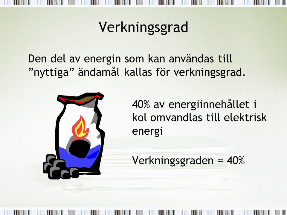 """Verkningsgrad Den del av energin som kan användas till """"nyttiga"""" ändamål kallas för verkningsgrad. 40% av energiinnehållet i kol omvandlas till elektr"""