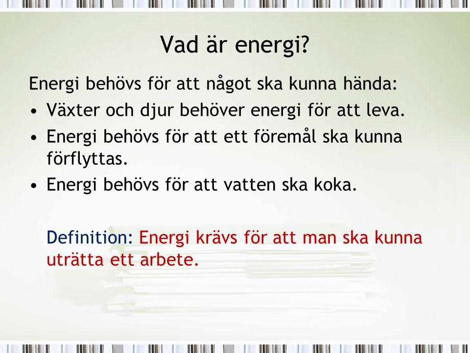 Vad är energi? Energi behövs för att något ska kunna hända: •Växter och djur behöver energi för att leva. •Energi behövs för att ett föremål ska kunna