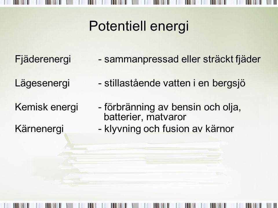 Potentiell energi Fjäderenergi - sammanpressad eller sträckt fjäder Lägesenergi - stillastående vatten i en bergsjö Kemisk energi - förbränning av ben
