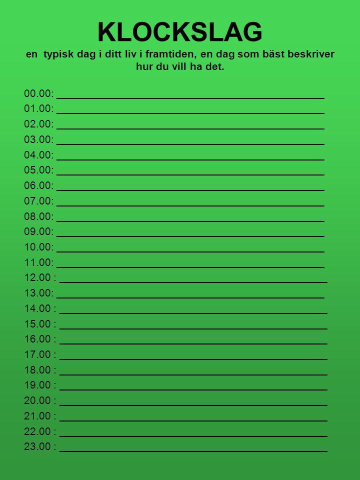 KLOCKSLAG en typisk dag i ditt liv i framtiden, en dag som bäst beskriver hur du vill ha det. 00.00: _____________________________________________ 01.