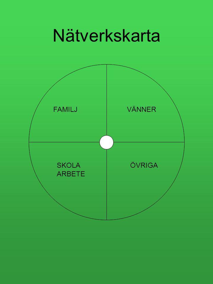 Nätverkskarta FAMILJVÄNNER SKOLA ARBETE ÖVRIGA