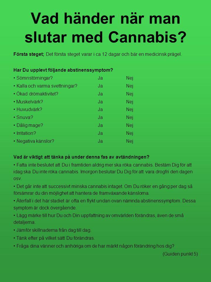 Vad händer när man slutar med Cannabis? Första steget; Det första steget varar i ca 12 dagar och bär en medicinsk prägel. Har Du upplevt följande abst