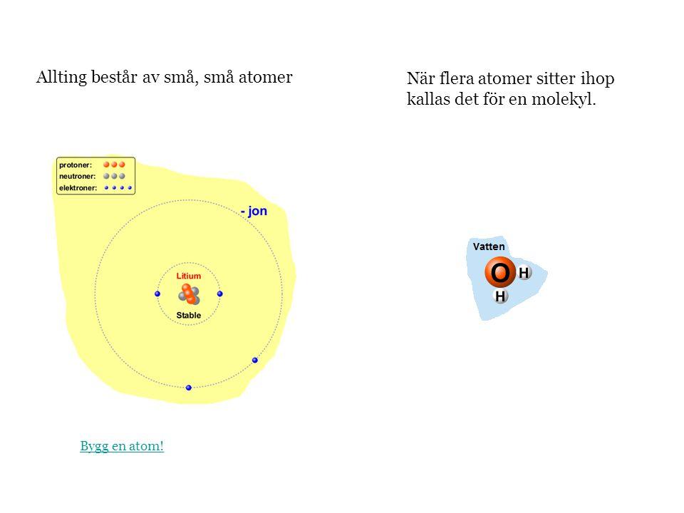 Allting består av små, små atomer När flera atomer sitter ihop kallas det för en molekyl. Bygg en atom!