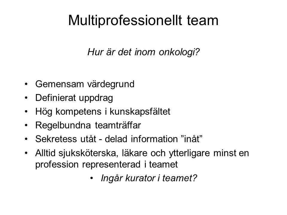 Multiprofessionellt team Hur är det inom onkologi? •Gemensam värdegrund •Definierat uppdrag •Hög kompetens i kunskapsfältet •Regelbundna teamträffar •