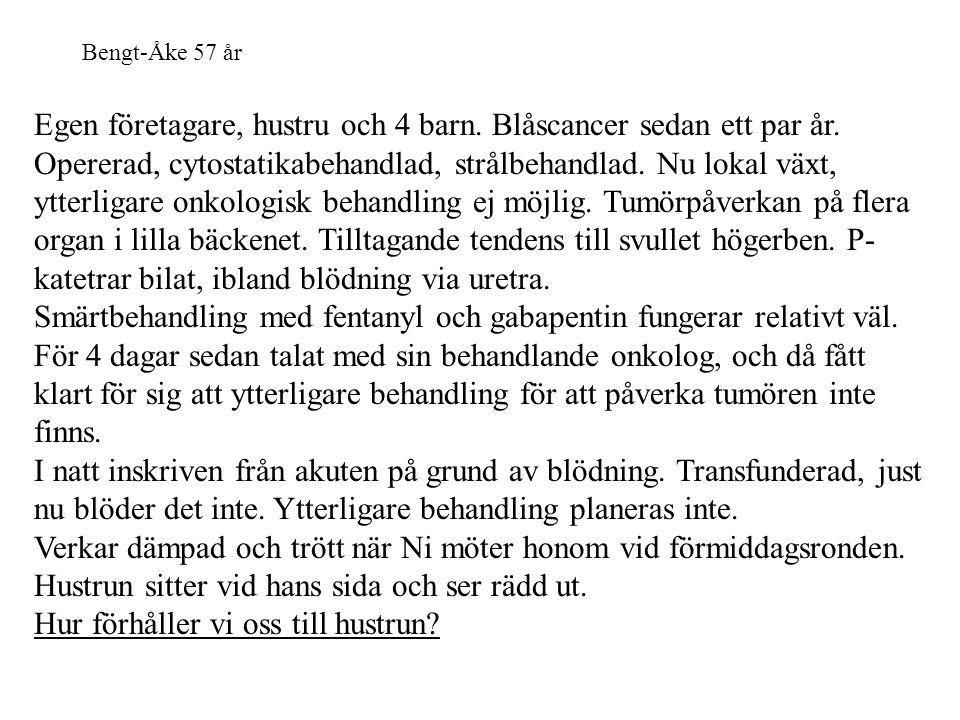 Bengt-Åke 57 år Egen företagare, hustru och 4 barn. Blåscancer sedan ett par år. Opererad, cytostatikabehandlad, strålbehandlad. Nu lokal växt, ytterl