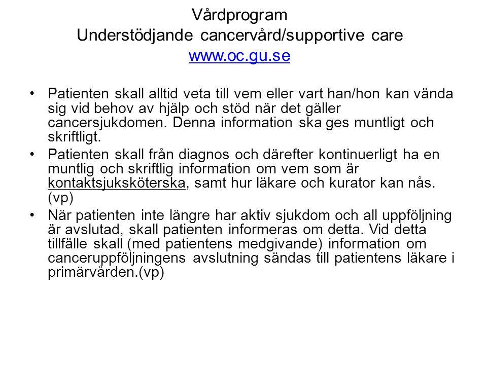 Vårdprogram Understödjande cancervård/supportive care www.oc.gu.se www.oc.gu.se •Patienten skall alltid veta till vem eller vart han/hon kan vända sig