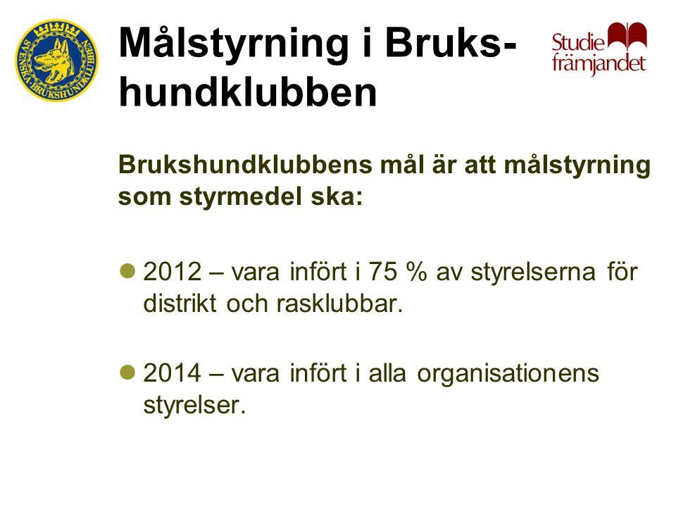 Målstyrning i Bruks- hundklubben Brukshundklubbens mål är att målstyrning som styrmedel ska:  2012 – vara infört i 75 % av styrelserna för distrikt och rasklubbar.