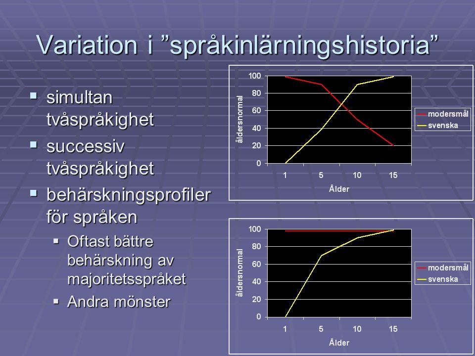 Olika kontexter för språkutveckling  Förstaspråksutveckling när modersmålet är majoritetsspråk  Förstaspråksutveckling när modersmålet är minoritetsspråk  Andraspråksutveckling/-inlärning när målspråket är majoritetsspråk  (Andraspråksutveckling/-inlärning när målspråket är minoritetsspråk)  Främmandespråksinlärning