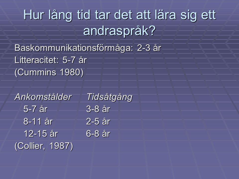Hur lång tid tar det att lära sig ett andraspråk? Baskommunikationsförmåga: 2-3 år Litteracitet: 5-7 år (Cummins 1980) AnkomstålderTidsåtgång 5-7 år3-