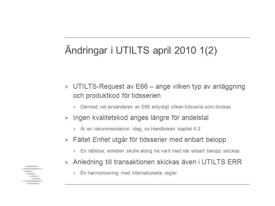 Ändringar i UTILTS april 2010 1(2) > UTILTS-Request av E66 – ange vilken typ av anläggning och produktkod för tidsserien > Därmed vet avsändaren av E6