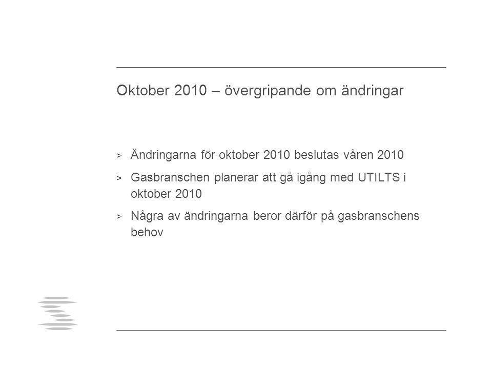 Oktober 2010 – övergripande om ändringar > Ändringarna för oktober 2010 beslutas våren 2010 > Gasbranschen planerar att gå igång med UTILTS i oktober