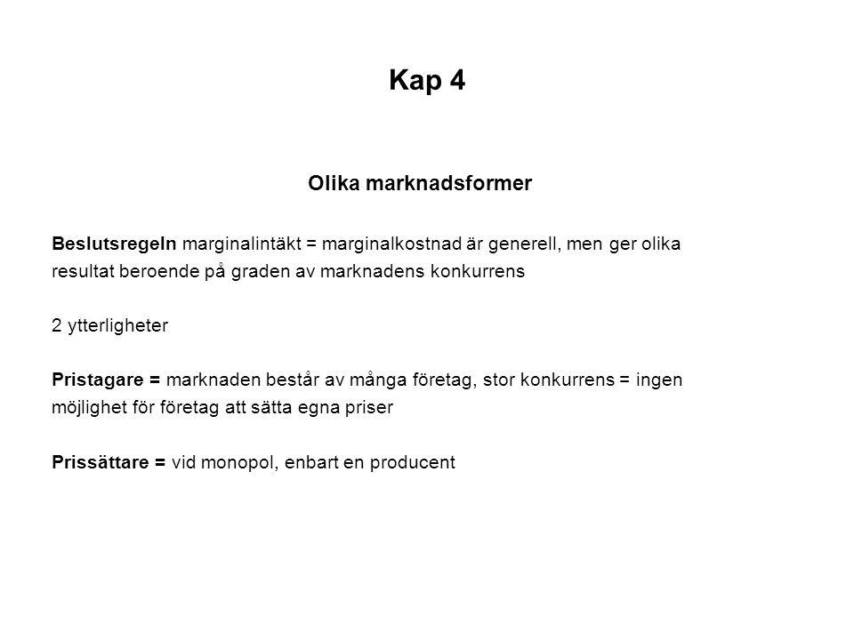 Kap 4 Enskilt företag i konkurrens (pristagare) fig 4.4 s 86 Företagen uppfattar inte marknadens efterfrågekurva som fallande, utan som horisontell.