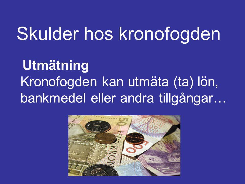 Skulder hos kronofogden Utmätning Kronofogden kan utmäta (ta) lön, bankmedel eller andra tillgångar…