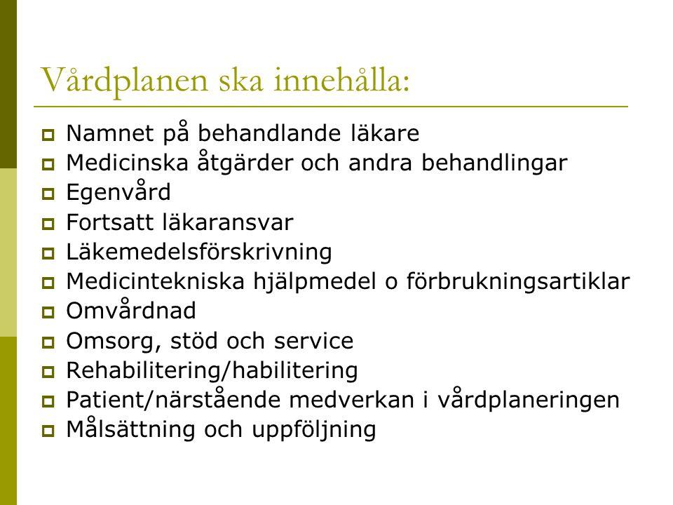 Vårdplanen ska innehålla:  Namnet på behandlande läkare  Medicinska åtgärder och andra behandlingar  Egenvård  Fortsatt läkaransvar  Läkemedelsfö