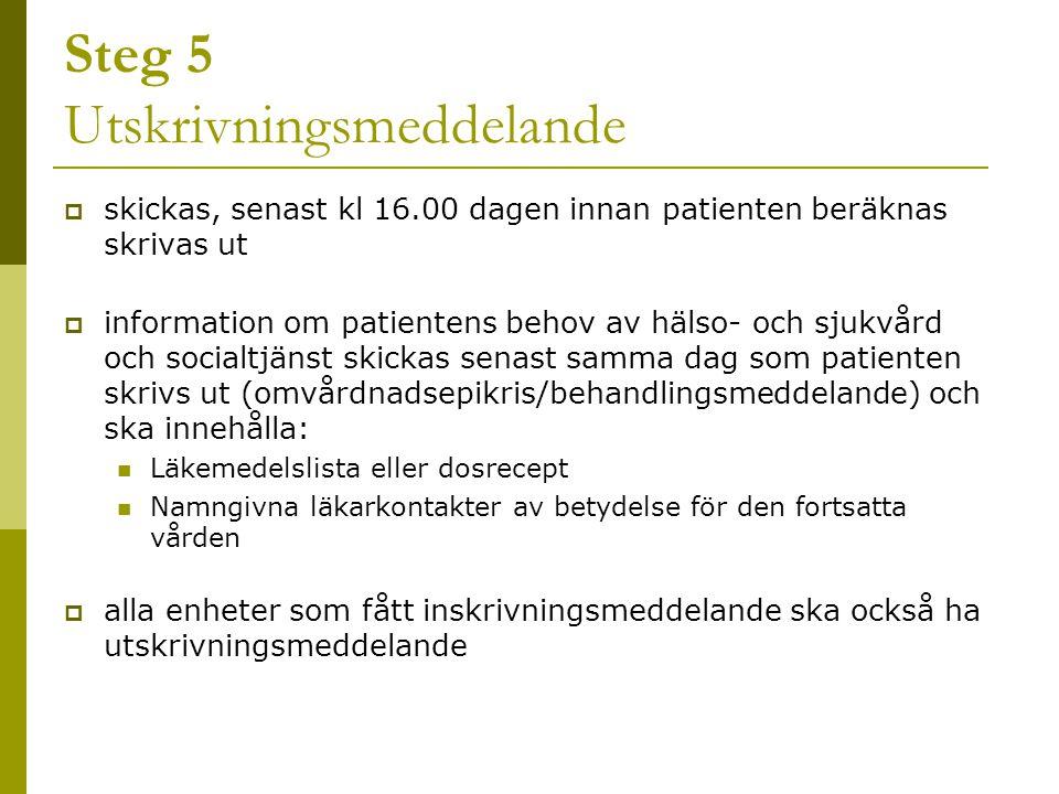 Steg 5 Utskrivningsmeddelande  skickas, senast kl 16.00 dagen innan patienten beräknas skrivas ut  information om patientens behov av hälso- och sju