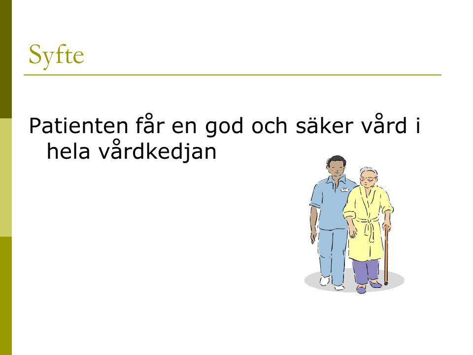 Syfte Patienten får en god och säker vård i hela vårdkedjan