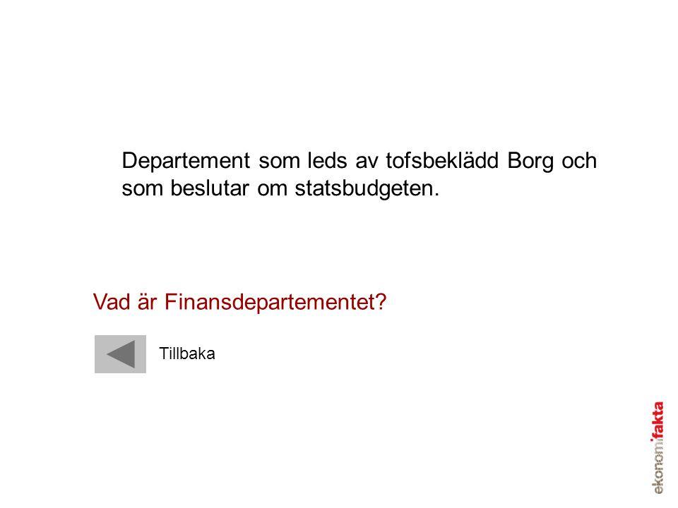 Departement som leds av tofsbeklädd Borg och som beslutar om statsbudgeten. Vad är Finansdepartementet? Tillbaka
