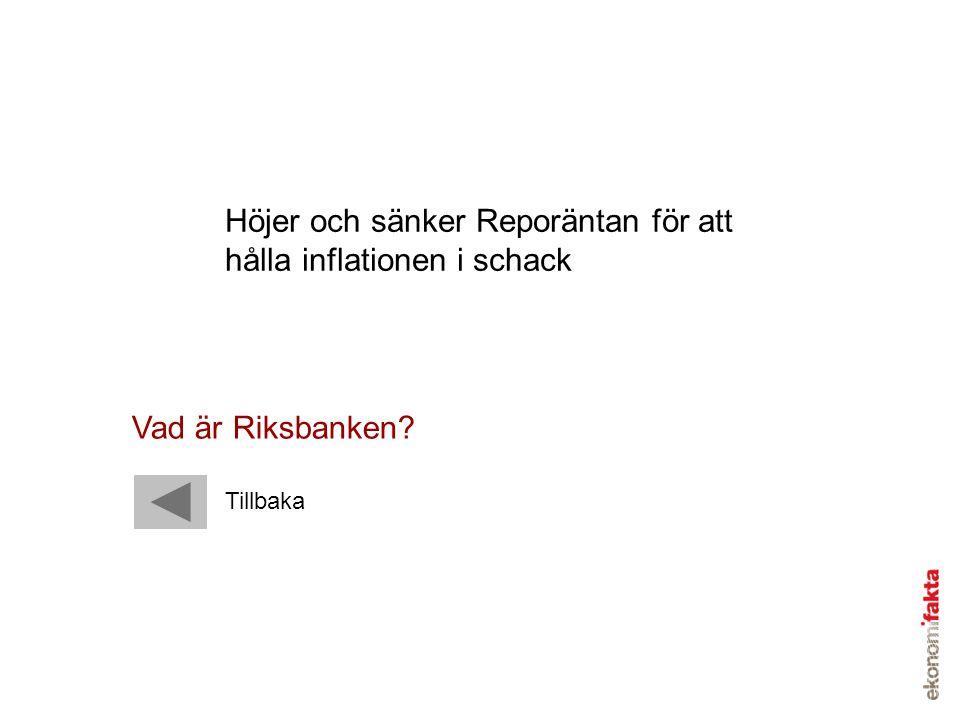 Höjer och sänker Reporäntan för att hålla inflationen i schack Vad är Riksbanken? Tillbaka