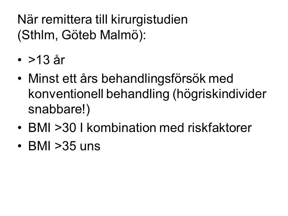 När remittera till kirurgistudien (Sthlm, Göteb Malmö): •>13 år •Minst ett års behandlingsförsök med konventionell behandling (högriskindivider snabbare!) •BMI >30 I kombination med riskfaktorer •BMI >35 uns