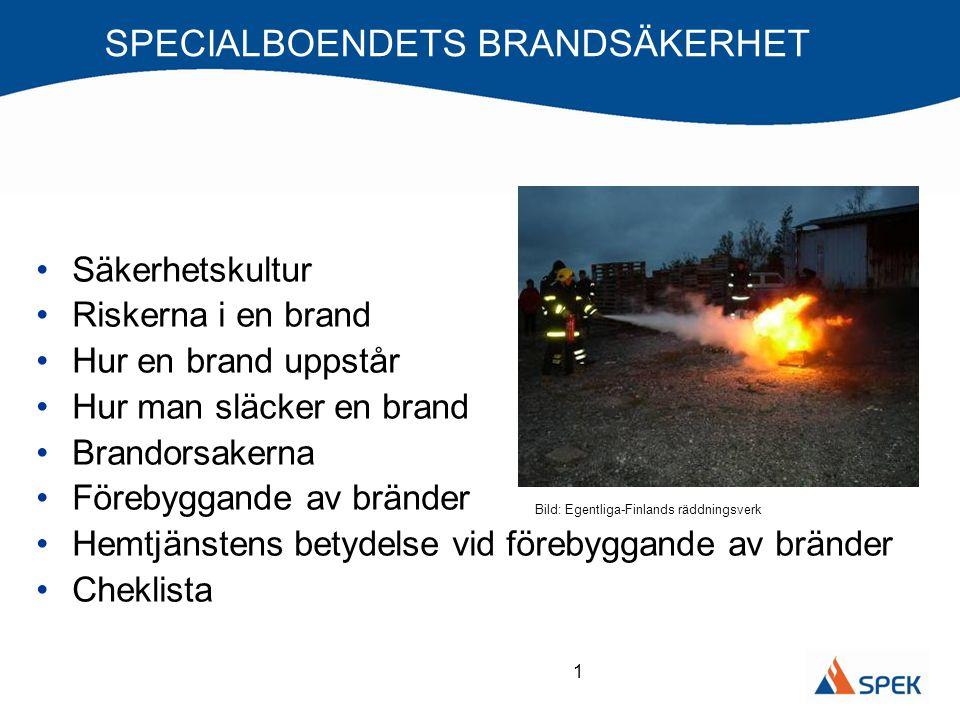 1 SPECIALBOENDETS BRANDSÄKERHET •Säkerhetskultur •Riskerna i en brand •Hur en brand uppstår •Hur man släcker en brand •Brandorsakerna •Förebyggande av