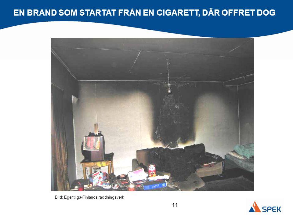 11 EN BRAND SOM STARTAT FRÅN EN CIGARETT, DÄR OFFRET DOG Bild: Egentliga-Finlands räddningsverk