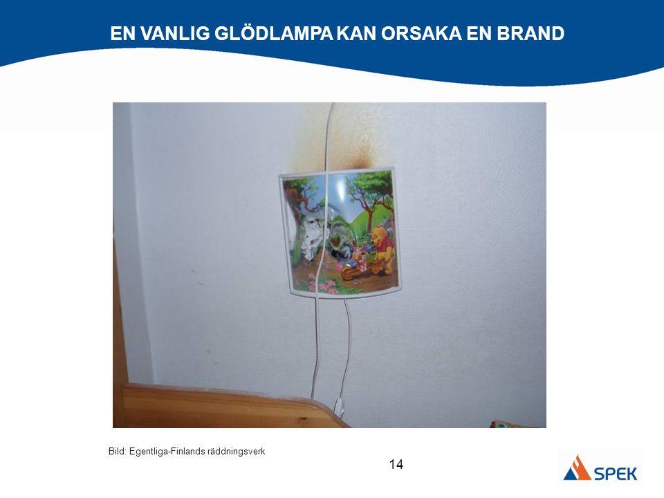 14 EN VANLIG GLÖDLAMPA KAN ORSAKA EN BRAND Bild: Egentliga-Finlands räddningsverk