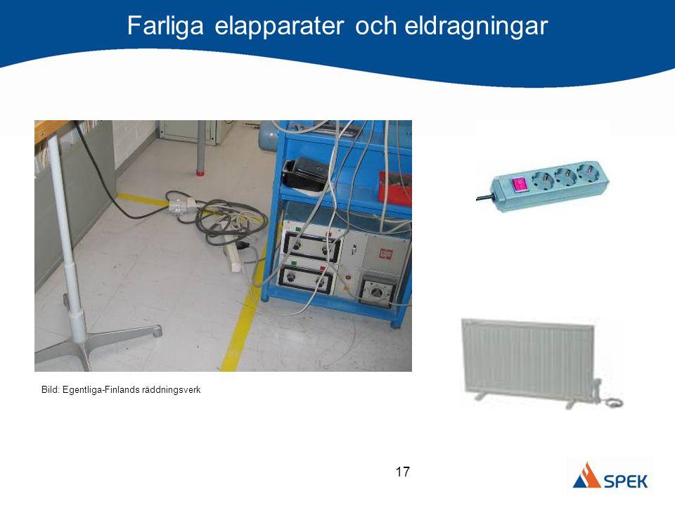17 Farliga elapparater och eldragningar Bild: Egentliga-Finlands räddningsverk