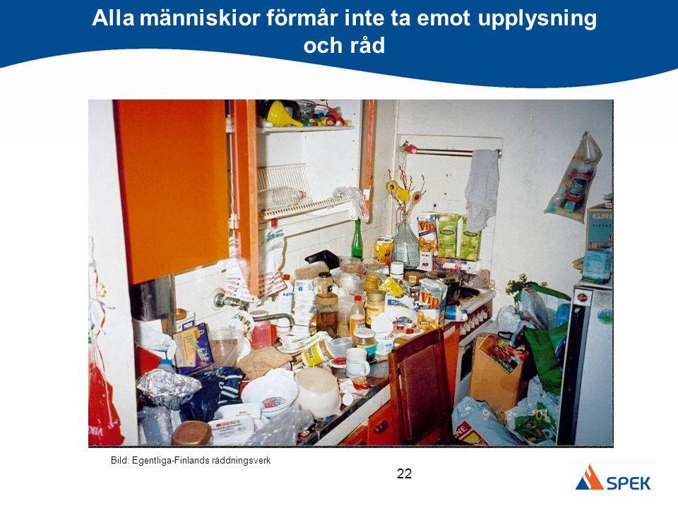 22 Alla människior förmår inte ta emot upplysning och råd Bild: Egentliga-Finlands räddningsverk