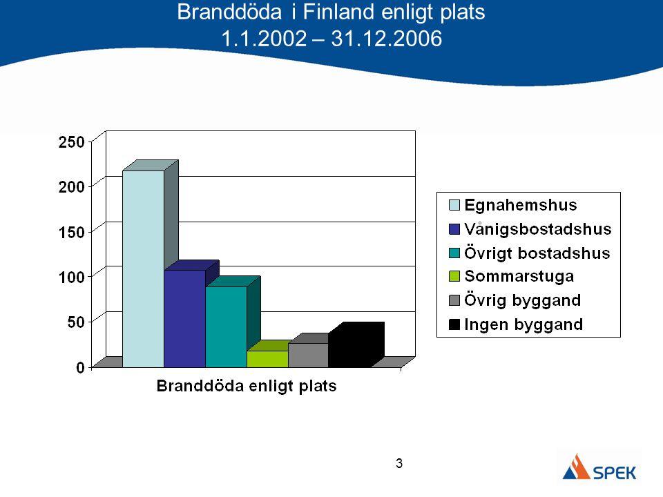 3 Branddöda i Finland enligt plats 1.1.2002 – 31.12.2006