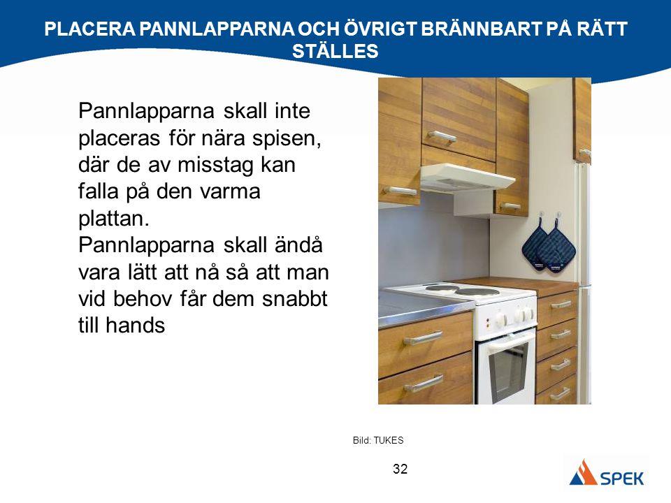 32 Pannlapparna skall inte placeras för nära spisen, där de av misstag kan falla på den varma plattan. Pannlapparna skall ändå vara lätt att nå så att