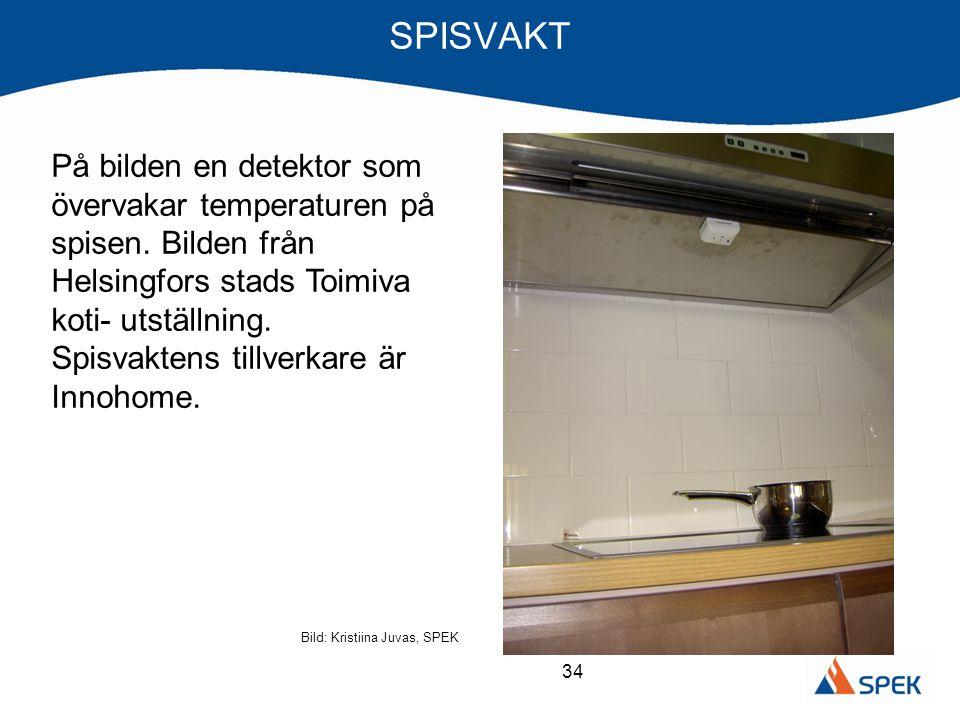 34 SPISVAKT Bild: Kristiina Juvas, SPEK På bilden en detektor som övervakar temperaturen på spisen. Bilden från Helsingfors stads Toimiva koti- utstäl