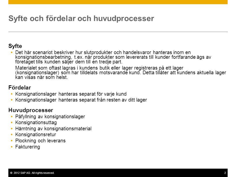 ©2012 SAP AG. All rights reserved.2 Syfte och fördelar och huvudprocesser Syfte  Det här scenariot beskriver hur slutprodukter och handelsvaror hante