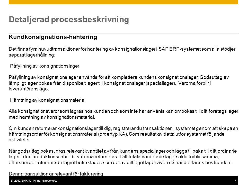 ©2012 SAP AG. All rights reserved.4 Detaljerad processbeskrivning Kundkonsignations-hantering Det finns fyra huvudtransaktioner för hantering av konsi