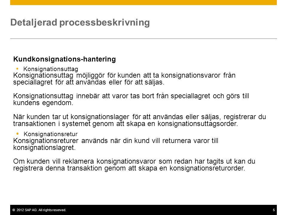 ©2012 SAP AG. All rights reserved.5 Detaljerad processbeskrivning Kundkonsignations-hantering  Konsignationsuttag Konsignationsuttag möjliggör för ku