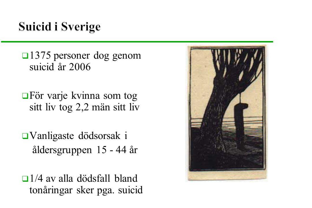  1375 personer dog genom suicid år 2006  För varje kvinna som tog sitt liv tog 2,2 män sitt liv  Vanligaste dödsorsak i åldersgruppen 15 - 44 år 