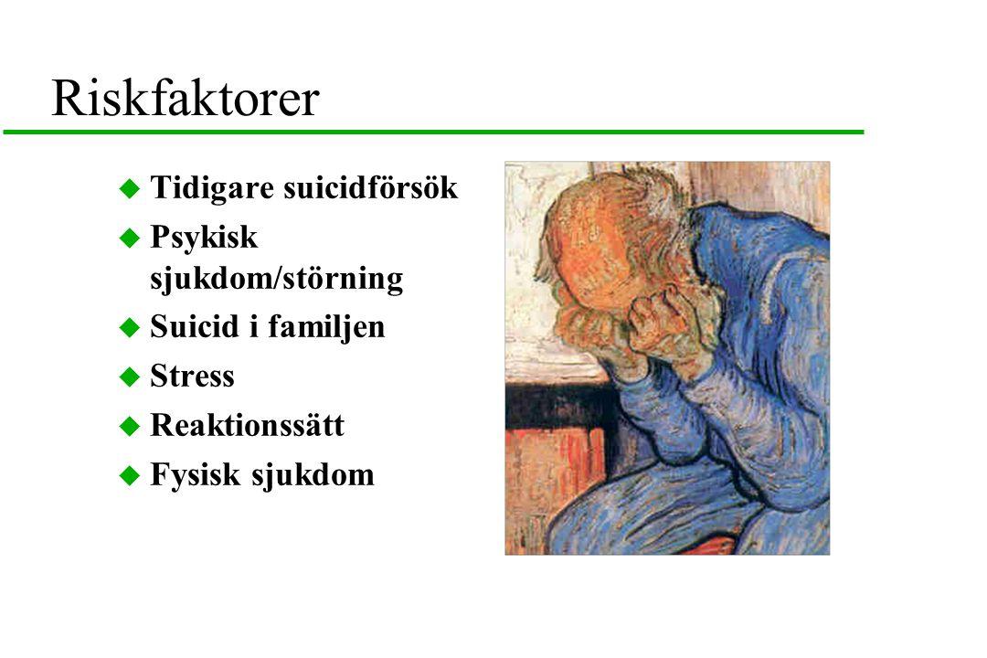 Riskfaktorer  Tidigare suicidförsök  Psykisk sjukdom/störning  Suicid i familjen  Stress  Reaktionssätt  Fysisk sjukdom