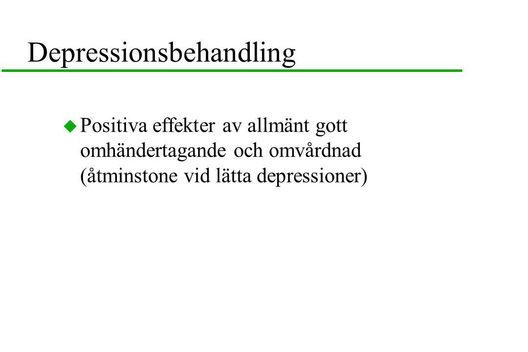 Depressionsbehandling  Positiva effekter av allmänt gott omhändertagande och omvårdnad (åtminstone vid lätta depressioner)