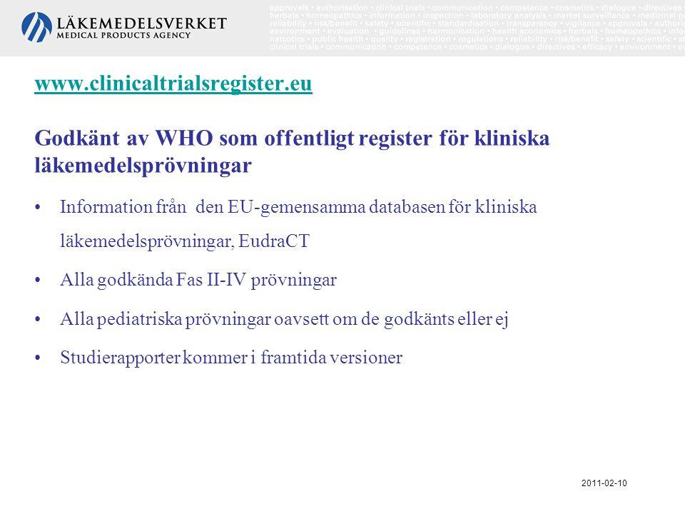 www.clinicaltrialsregister.eu www.clinicaltrialsregister.eu Godkänt av WHO som offentligt register för kliniska läkemedelsprövningar •Information från