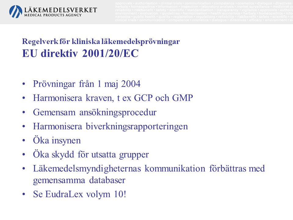 Regelverk för kliniska läkemedelsprövningar EU direktiv 2001/20/EC •Prövningar från 1 maj 2004 •Harmonisera kraven, t ex GCP och GMP •Gemensam ansökni