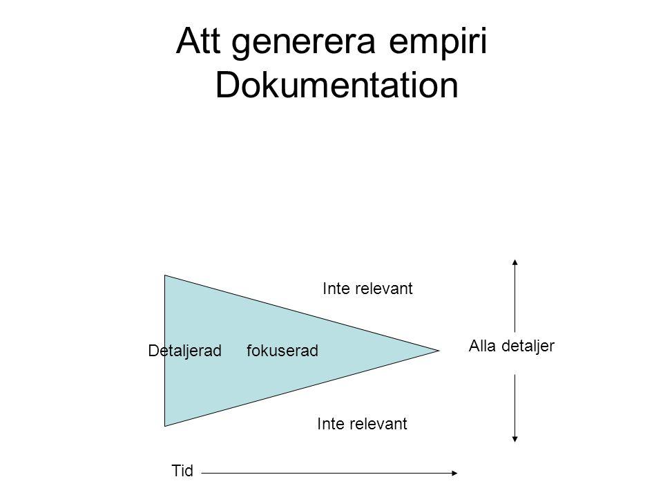 Att generera empiri Dokumentation Detaljerad fokuserad Alla detaljer Inte relevant Tid Inte relevant