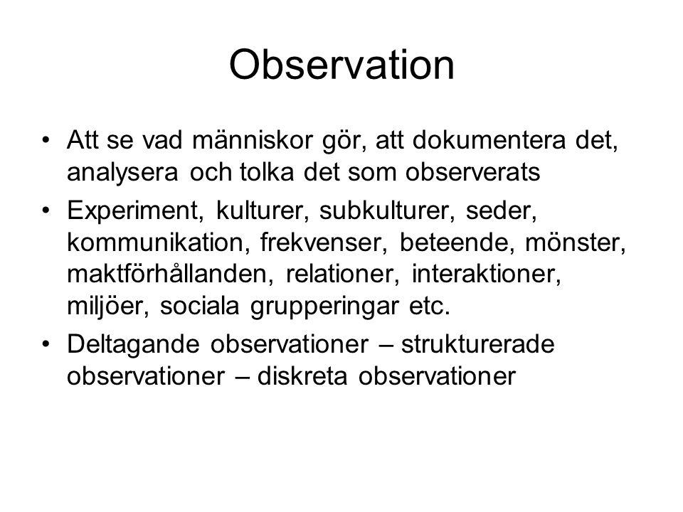 Strukturerade observationer •En ren observatörs roll •Kvantiteter, mäta •Kodningsscheman •Deduktivt förhållningssätt •På förhand bestämda kategorier som ska mätas/observeras •Mätinstrumentets validitet och reliabilitet
