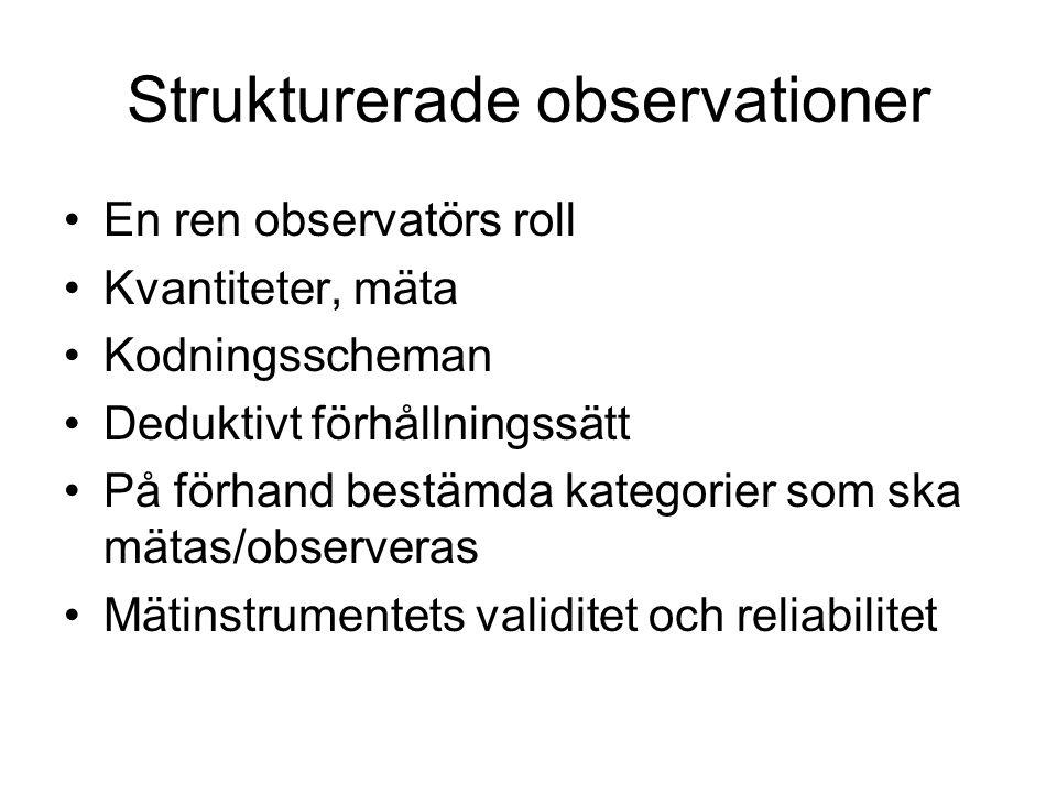 Strukturerade observationer •En ren observatörs roll •Kvantiteter, mäta •Kodningsscheman •Deduktivt förhållningssätt •På förhand bestämda kategorier s