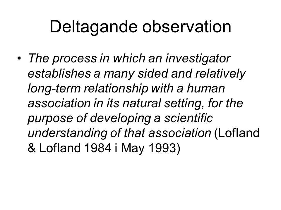 Strukturerad observation •En omsorgsfull, utforskande observation som strävar efter en detaljerad och konsistent beskrivning av människans beteende (Robson 2002)