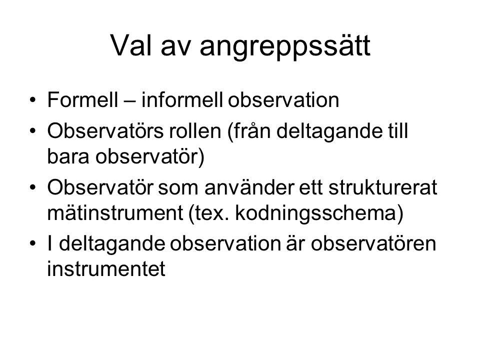 Val av angreppssätt •Formell – informell observation •Observatörs rollen (från deltagande till bara observatör) •Observatör som använder ett strukture
