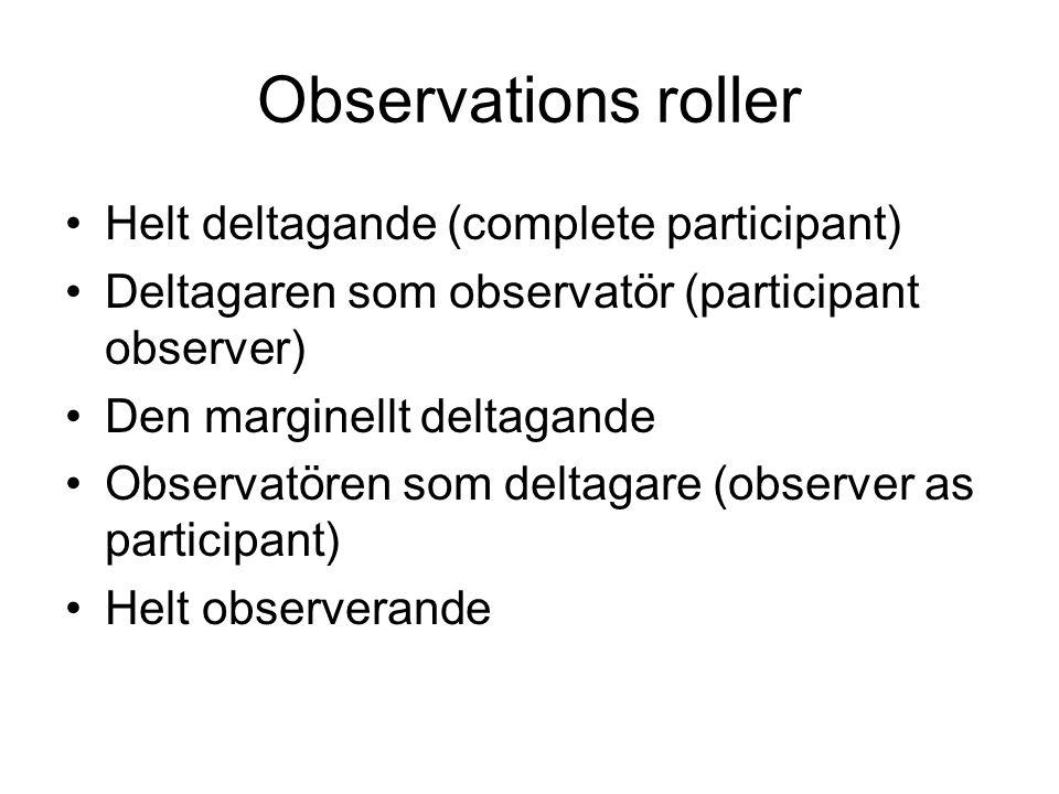 Observations roller •Helt deltagande (complete participant) •Deltagaren som observatör (participant observer) •Den marginellt deltagande •Observatören