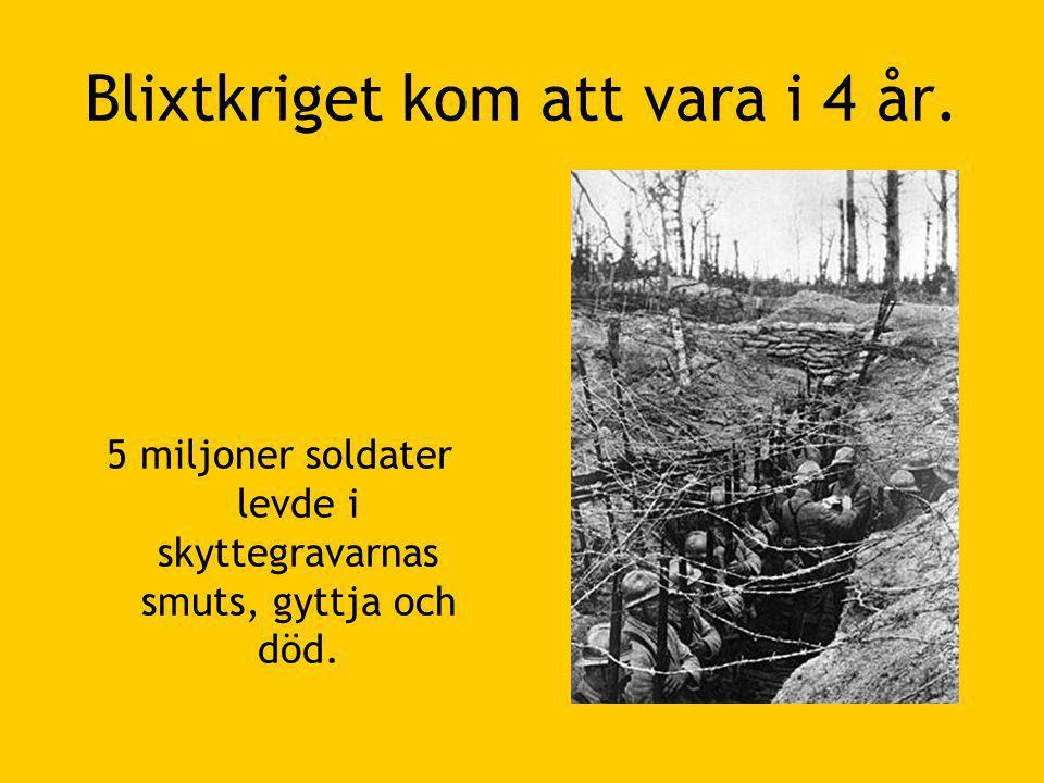 Blixtkriget kom att vara i 4 år. 5 miljoner soldater levde i skyttegravarnas smuts, gyttja och död.