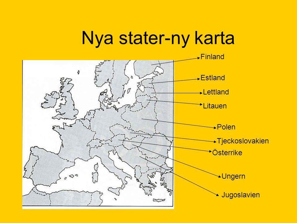 Nya stater-ny karta Estland Lettland Litauen Polen Tjeckoslovakien Österrike Ungern Jugoslavien Finland